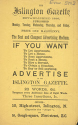 Advert for the Islington Gazette, newspaper